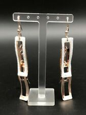 Fashion Statement Copper Plated Sparkling Glitter Rectangular Dangling Earrings