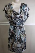 Komarov Brown Printed  Drape-Neck, Stretch-Jersey Dress Size L (DR 400)
