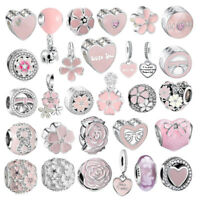Fashion European Pink Flower Charm Beads Jewelry Fit Sterling 925 Bracelet Chain