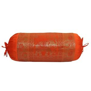 Silk Masand Neck Roll Cylinder Pillow Bed Home Decor Yoga Bolster Cushion Cover