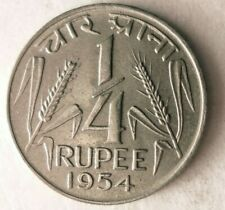 1954 (c) INDIA 1/4 RUPEE - Excellent Coin - Free Ship - Premium Vintage Bin #25