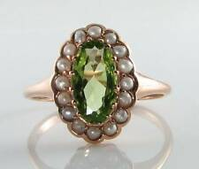 ART DECO INS 9CT 9K ROSE GOLD PERIDOT PEARL CLUSTER RING