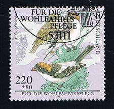 GERMANIA 1 FRANCOBOLLO BENEFICENZA UCCELLI ROTKOPFWÜRGER 1998 timbrato (BD5426)