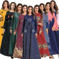 Muslim Women Long Sleeve Maxi Dress Robe Abaya Dubai Loose Casual Islamic Kaftan