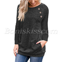 Women's Casual Long Sleeve Round Scoop Neck Pockets Tunics T-Shirt Blouses Tops