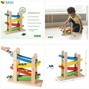 Play22 Wooden Car Ramps Race - 4 Level Toy Car Ramp Race Track Includes 4 Wooden