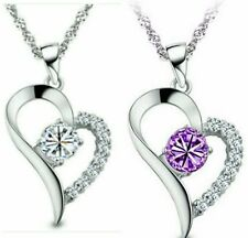 Austrian Crystal Heart White/Purple Amethyst Semi-precious Pendant And Necklace