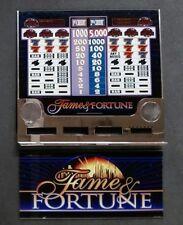 Bally ProSlot S6000 Slot Machine FAME & FORTUNE 2 Coin Credit 3 Reel Glass Set