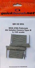 Quickboost 1/32 MiG-29A Fulcrum cubiertas de entrada de aire tipo B para Trumpeter # 32091