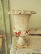 Omg! Old Vintage French Cast Iron Urn Planter~cHiPpY White Patina Patina!
