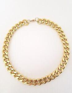 14mm Gold anodized aluminum Cuban Link chain Bib choker necklace for men