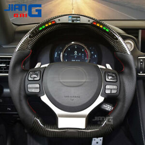 Real LED Carbon Fiber Performance Steering Wheel for lexus is gs ct nx rcf