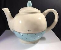 NEW Rae Dunn by Magenta Artisan Collection Pour Teapot Polka Dot Blue