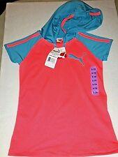 NWT-Girls Orange & Sky Blue PUMA everyday Hooded Shirt, Short  Sleeve LOGO S 7/8