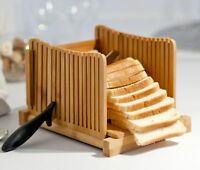 Kenley Bamboo Bread Slicer - Adjustable Foldable Cutter with Slicing Guide