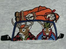 Deer Hunter Killed By Deer Funny Embroidered Gray Graphic T Shirt Cotton L