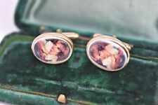 Vintage Sterling silver cufflinks with an Art Deco coloured inserts #G212