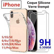 Coque + Verre trempé Protection écran iPhone 11/Pro/Xs/Max/XR/X/8/Plus/7/6s/5/SE