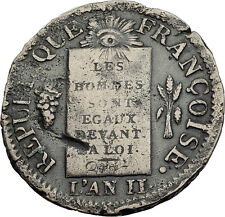 1793 FRANCE 1st Republic Time of French Revolution Authentic Antique Coin i63500