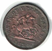 1854 CANADA ONE PENNY BANK OF UPPER CANADA