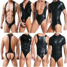 Men's PU Leather Underwear Jumpsuit Stretch Tight Leotard Clubwear Bodysuit Sexy