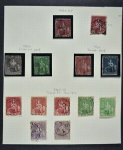 TRINIDAD, a collection of 13 Victorian stamps on 1 album page, used condition.