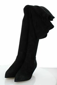A30 NEW 1,900 Women's Sz 38 M Valentino Suede Over The Knee Kitty Boot In Black