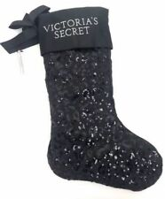 Victoria's Secret black leopard sequin satin Christmas holiday stocking