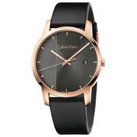 Calvin Klein Men's Watch City Quartz Grey Dial Black Leather Strap K2G2G6C3