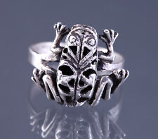 VINTAGE FROG RING 925 STERLING SILVER MOVABLE KINETIC ESTATE JEWELRY SIZE 6.5