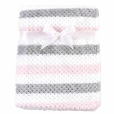 Hudson Baby Girl Plush Waffle Blanket, Pink and Gray Stripe