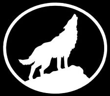 WOLF Vinyl Decal Sticker Car Window Wall Bumper Howling Oval Dog Animal White