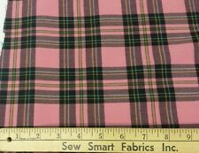 "Polyester & Lycra Blend: Pink, Black, & Yellow Plaid; 50"" W, 3 yds."