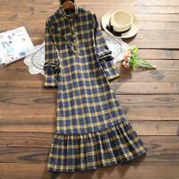 New Styles Mori Girl Long Plaid Skirt Long Sleeve Loose One Piece Dress 2Colors