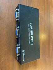 Portta 1x4 4 Port VGA Video Splitter With Audio PC Laptop to TV LCD Monitor