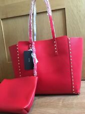 a924fddb010 ZARA REVERSIBLE STUDDED TOTE BAG beige / red new with tags