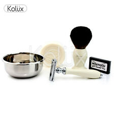 Vintage Style Shaving Gift Set For Men (DE Safety,Shaving Brush,Soap,Bowl)