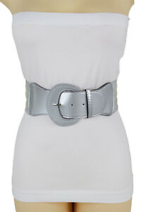 Fancy Women Wide Elastic Waistband Metallic Silver Belt Bling Round Buckle S M