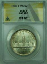 1939 Canada Dollar $1 Silver Coin ANACS MS-62