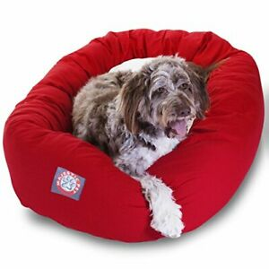 52 inch Red & Sherpa Bagel Dog Bed By Majestic Pet Products