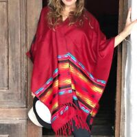 ALPACA WOOL PONCHO WRAP SHAWL BLANKET CAPE AZTEC ALL SEASONS BOHO ETHNIC FEST