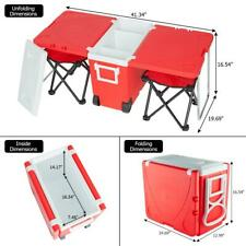Multi Function Rolling Cooler Picnic Camping Outdoor Table 2 Chairs Red US New