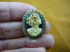 (CS33-14) Small WOMAN hair up ivory CAMEO Pin pendant JEWELRY brooch necklace