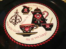 "Vintage 60s Black Red Penn Dutch Coffee Large 19"" Round Metal Retro Serving Tray"