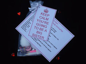 New Baby Big Brother or Sister Novelty Survival Kit and Gift Card Keep Calm