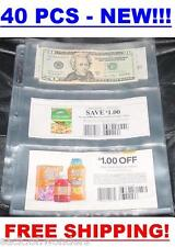 3 POCKETS Coupon Sleeves Pages Currency size 40/set NEW Organizer