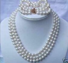 """HOT triple strands AAA South Sea White Pearl Necklace 18"""" Bracelet 8"""" 14K GOLD"""