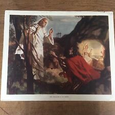 C1950 Vintage Enid Blyton Bible Picture Poster Mary Magdalene in the Garden