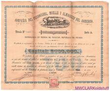 STOCK Accion CIA del FFCC MUELLE y ALMACENES del COMERCIO Merida 1901 RR PpdUS
