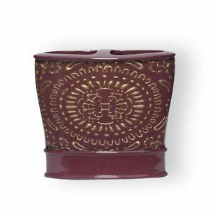 Popular Bath Cascade Toothbrush Holder Burgundy intricate gold design